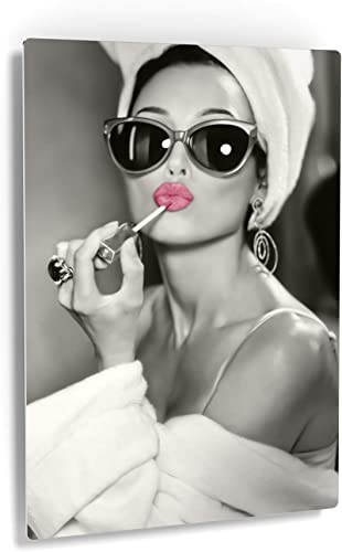 Smile Art Design Audrey Hepburn Wall Art Pink Lips Metal Print Lipstick Makeup Iconic Pop Art Pretty Beauty Black and White Metal Wall Art Home Decor Artwork Gallery Ready to Hang Made
