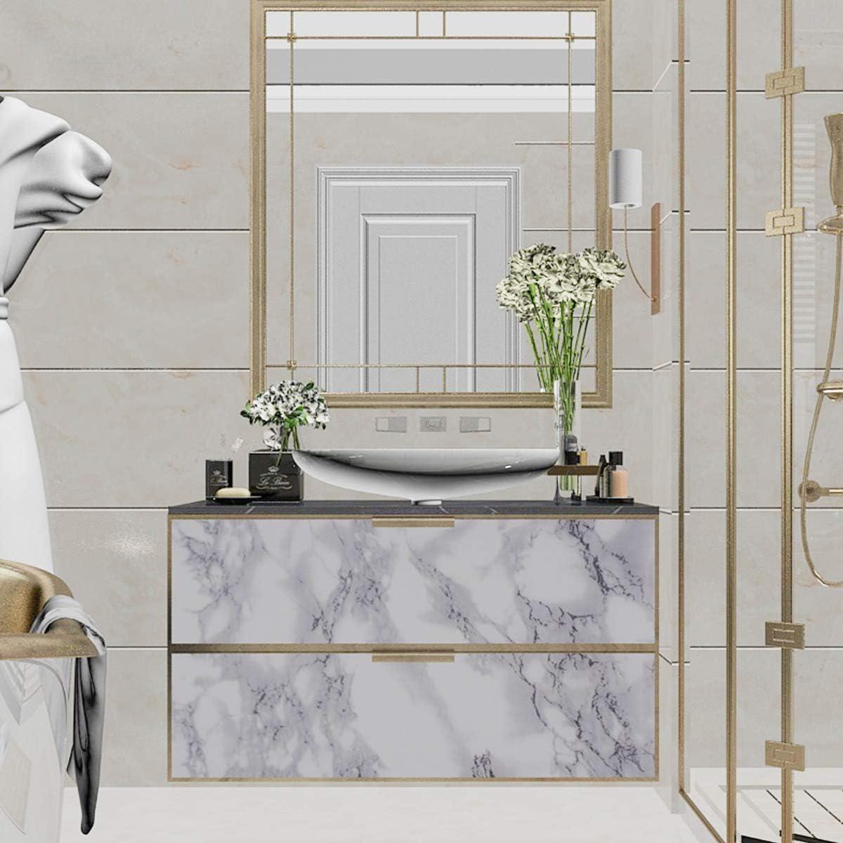 autoadhesivo gabinete de cocina 40cm/×3m JSEVEM Papel pintado de m/ármol blanco con granito de granito de papel pintado resistente al agua papel para escritorio adhesivo para muebles de pared