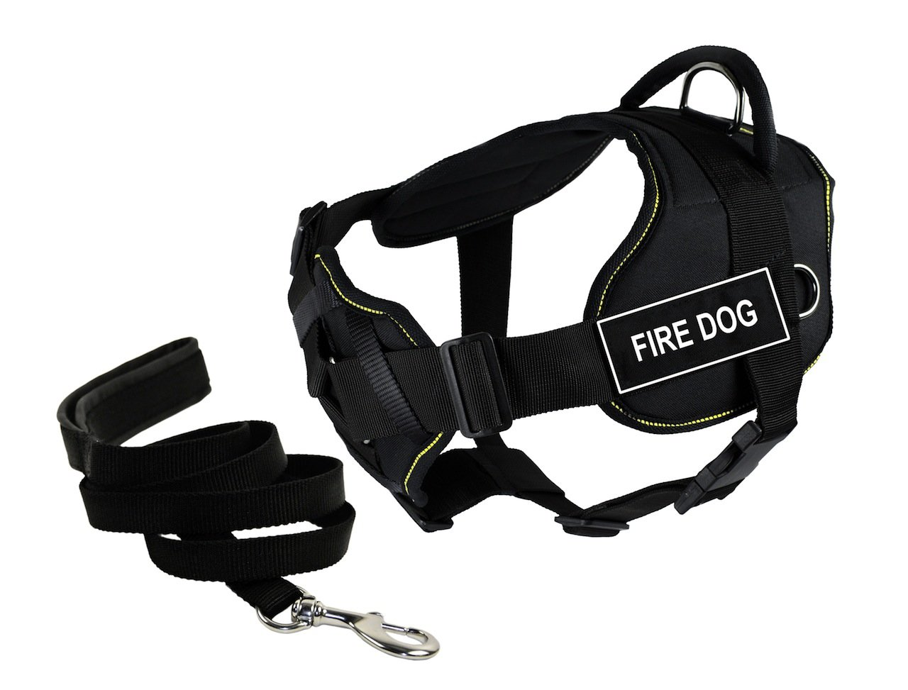 Dean & Tyler Bundle of 34 to 47-Inch DT Fun Harness with Chest Support and 6-Feet Stainless Snap Padded Puppy Leash, Fire Dog, Black with Yellow Trim