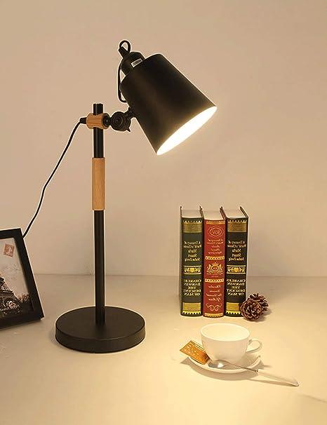 ESPERANZAXU Lámpara De Mesa De Protección Ocular para Escritorio Negro, Lámpara De Mesa Enchufable para Estudiantes Universitarios, Lámpara De Mesa De Noche Casera De Dormitorio: Amazon.es: Hogar