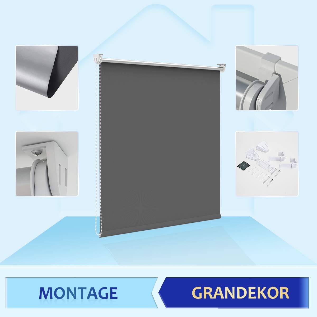 160 Grandekor Store Enrouleur Thermique pour Fen/être Rideau Argent/é Un C/ôt/é Store Occultant sans Percage Isoler Chaud Chaleur EasyFix Blanc 40