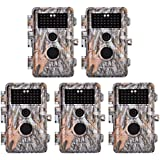 BlazeVideo 5-Pack 16MP 1080P HD Game & Trail Cameras No Glow Infrared Hunting Wildlife Animal Deer Camera Motion Sensor Activated IP66 Waterproof with 38pcs Invisible IR LED 65ft Night Vision 2.4 LCD