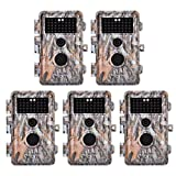 5-Pack 16MP 1920x1080P Video Game Trail Cameras Wildlife Deer Hunting Cams Time Lapse with 65ft Night Vision No Glow & No Flash 940nm Infrared IR Motion Activated IP66 Waterproof 0.6S Trigger 2.4'' LCD