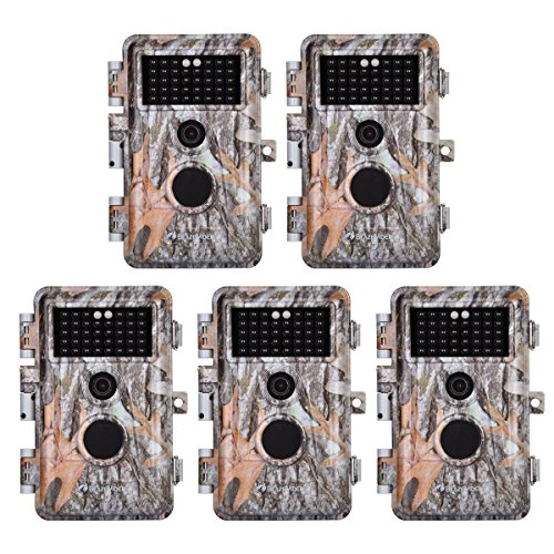 BlazeVideo 5-Pack 16MP 1080P Video Game Trail Cameras Wildlife Deer Hunting Cams with 65ft Night Vision, No Glow & No Flash Infrared LEDs, PIR Motion Activated, IP66 Waterproof, 0.6S Trigger, 2.4