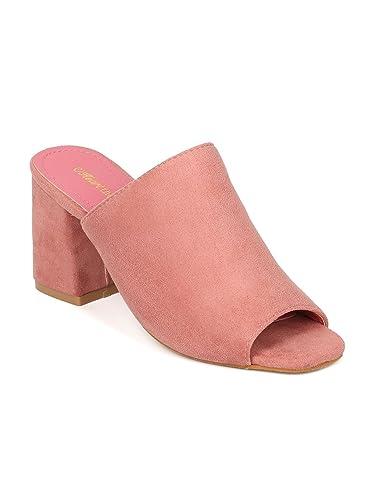 d4f7350814c Indulge Heartthentic CIARA-10 Women Faux Suede Peep Toe Block Heel Mule  HB92 - Pink