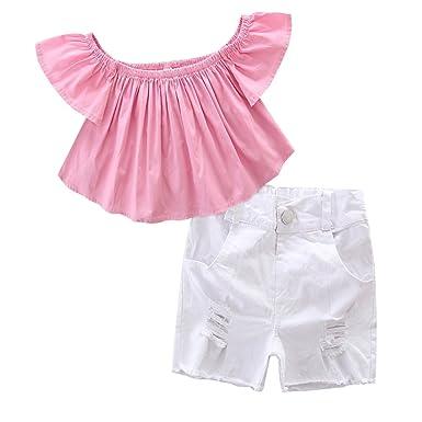 6b453f616824 Scfcloth Little Girls Kids Off Shoulder Tops + Holes Jeans Shorts +  Headband Clothing Set Outfits