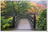 Wooden Bridge At Japanese Garden In Fall Paper Print Wall Art (28in. x 42in.)