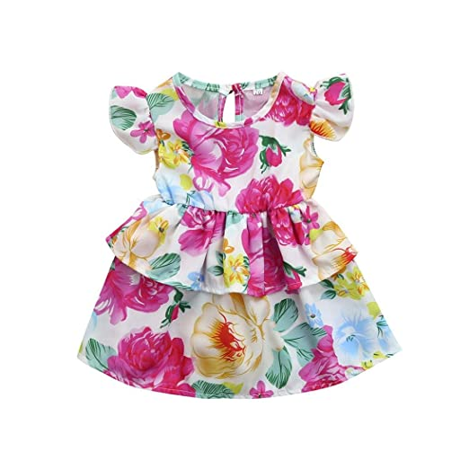 ShiTou Sleeveless Floral Printing Party Outfits Summer Infant Cactus Romper (Multicolor, 90)
