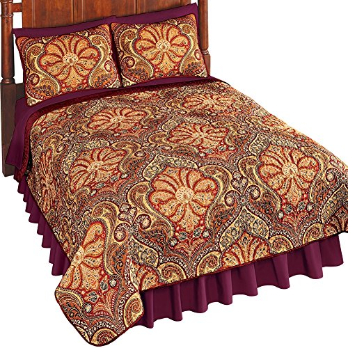 Paprika Paisley (Collections Etc Malta Spice Reversible Damask & Paisley Quilt, Spice, King)