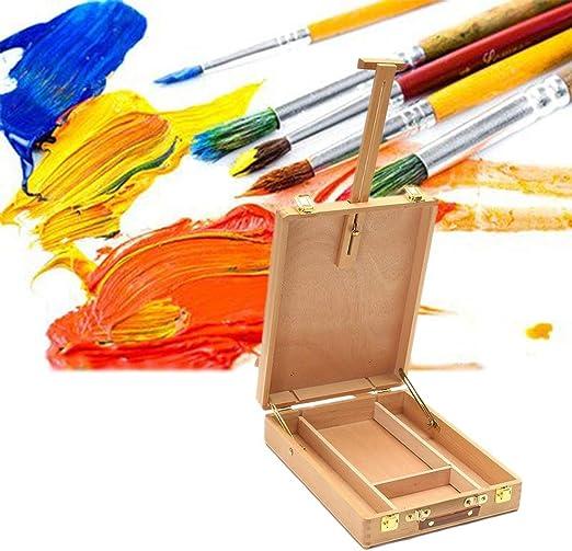 Caballete Aceite Recorrido de la Caja Pintura Paint Box Herramientas de Pintura del Artista Soporte Boda Pintura Conjunto Artes y Manualidades HUYP (Color : Wood Color): Amazon.es: Hogar