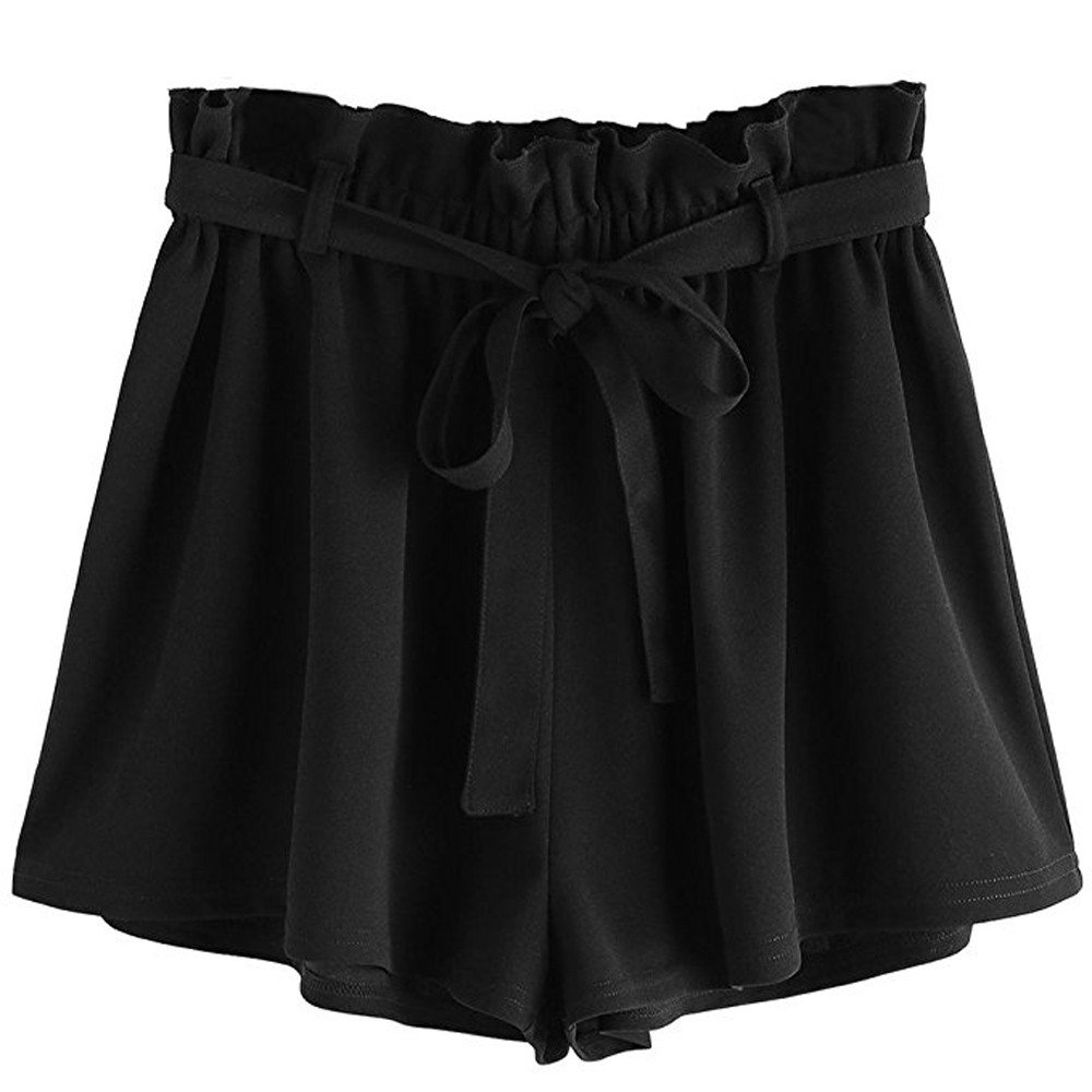 Women Sport Casual Pants,Jchen(TM) Women Casual Elastic Waist Hot Pants Summer Shorts Jersey Walking Shorts (M, Black)
