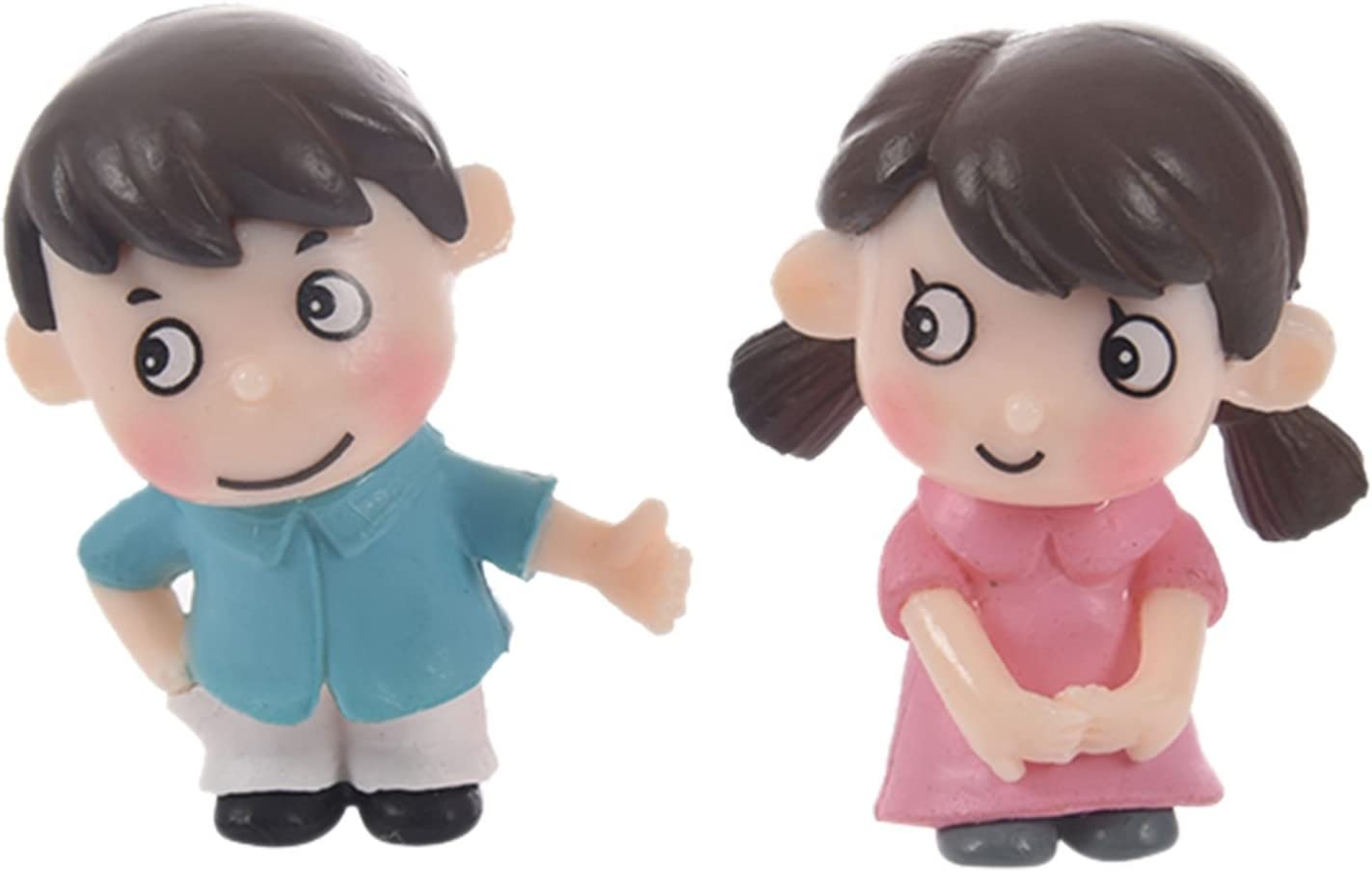 SODIAL (R) 2pcs Sweety – niños pareja figuras figuras en miniatura jardín de hadas Gnome musgo de terrario resina Crafts decoración accesorios para DIY (tamaño: 2,6 cm por 3,4 cm): Amazon.es: Hogar