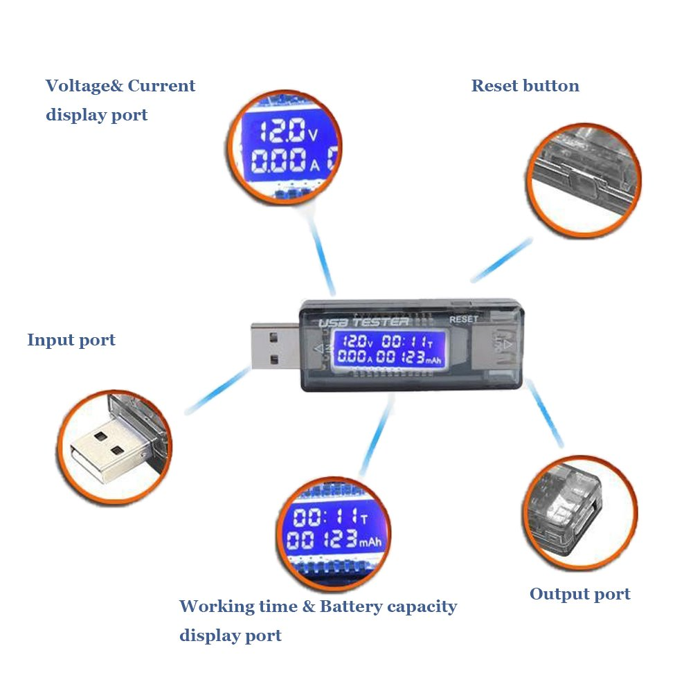 iFun4U USB multim/ètre voltm/ètre amp/ère tester amp/ère et voltage//la capacit/é de Charge//Syst/ème de charge Testeur//Test la vitesse de Chargeurs capacit/é de Power bank batterie externe,Cables /… bleu