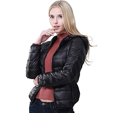 d5e8a931f71 Rookay RK Women s Ultra Light Weight Warm Down Jacket Solid Color Hooded  Packable (Black