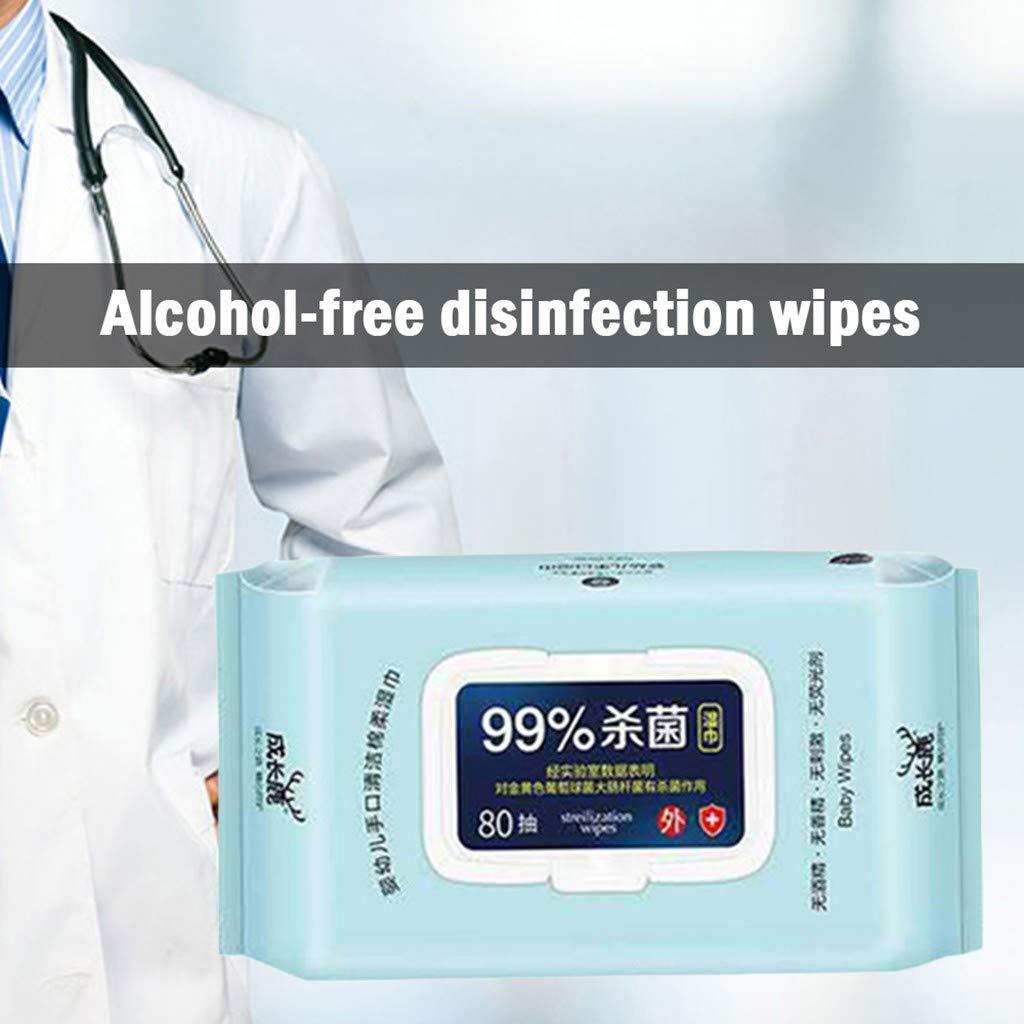 toallitas desinfectantes toallitas de Limpieza toallitas desinfectantes para el Cuidado de la Salud de Las Manos limpias 80 Piezas WARMWORD Toallitas antibacterianas Tejidos h/úmedos