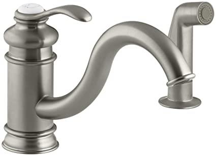 KOHLER K 12176 BN Fairfax Single Control Kitchen Sink Faucet, Vibrant  Brushed Nickel
