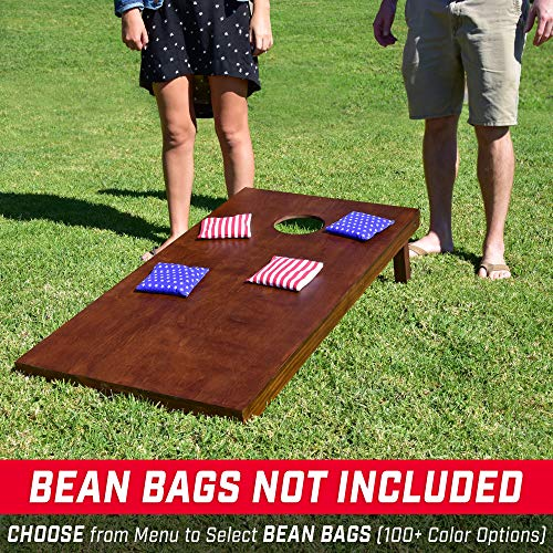 GoSports Stained Regulation Size Wooden Cornhole Set with Dark Brown Varnish | Includes Carrying Case