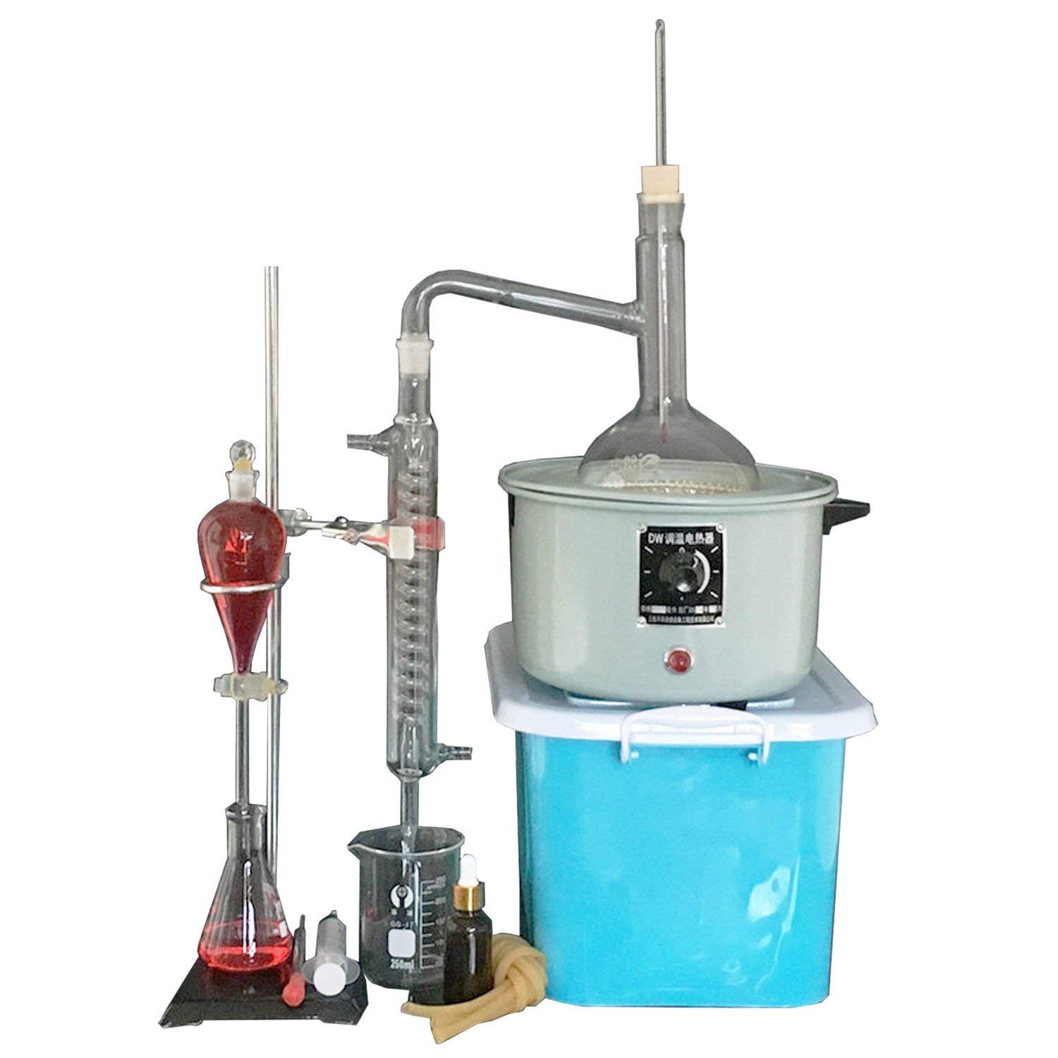 New Lab Essential Oil Extraction Distillation Apparatus Water Distiller Purifier Glassware Kits Hydrosol, Moonshine, Alcohol Distiller 1000ml with Electric Heater Lifts