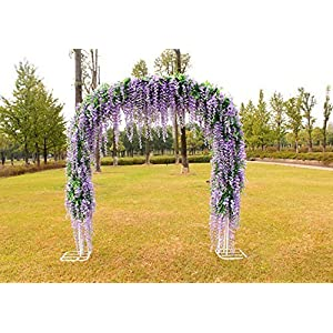 Coobl 3.6 Ft Realistic Romantic Classic Artificial Fake Wisteria Vine Ratta Silk Flowers for Garden Floral Decoration DIY Living Room Hanging Plant Vine Home Party Wedding Decor 12 Pcs (Pink) 3