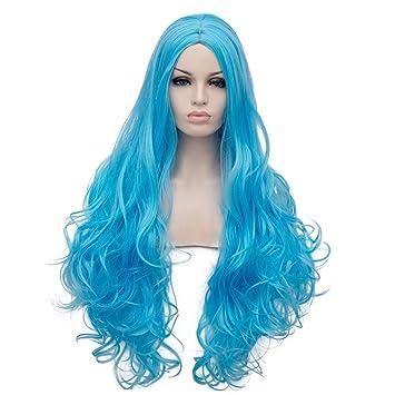 Estyle Fashion Larga 32 Cielo Azul lockig Resistente al Calor Lolita Mode Harajuku Cosplay Wig Peluca
