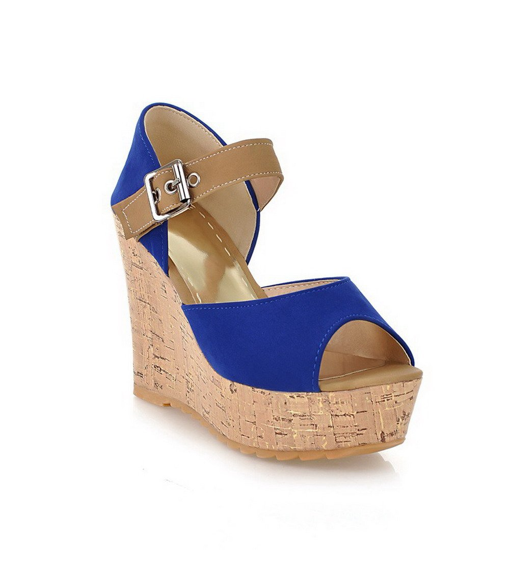 VogueZone009 Women's Frosted Buckle Open Toe High-Heels Assorted Color Platforms & Wedges, Blue, 38 by VogueZone009