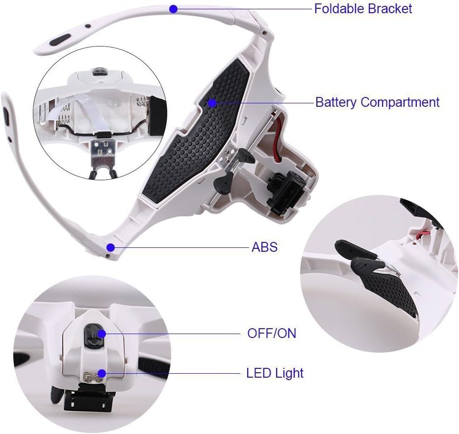 MOACC Lupa con Luz 2 LED, Lupas de Aumento para Modelismo,Reparaciones,Coser,Soldadura,Eliminar Piojos,Pegar Piezas Pequeñas,Joyería y Relojería: Amazon.es: Electrónica