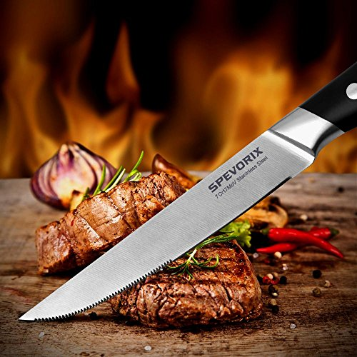 SPEVORIX Steak Knife Set Stainless Steel Serrated Steak Knives 6 Pcs with Gift Box