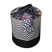 Pretty Krafts Laundry Bag For clothes, Collapsible Laundry storage, Toys Storage, (45 L) (Black and Brown Wave)