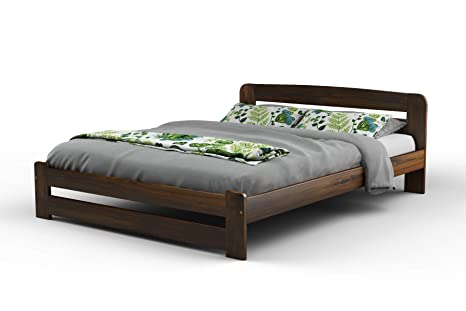 New King Size Solid Wooden Bedframe F1 With Slats 5ft Walnut