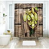 Bathroom Shower Curtain,3D Printed Fruit Pattern,Waterproof Mildew-Resistant,with Hooks,180 * 200Cm