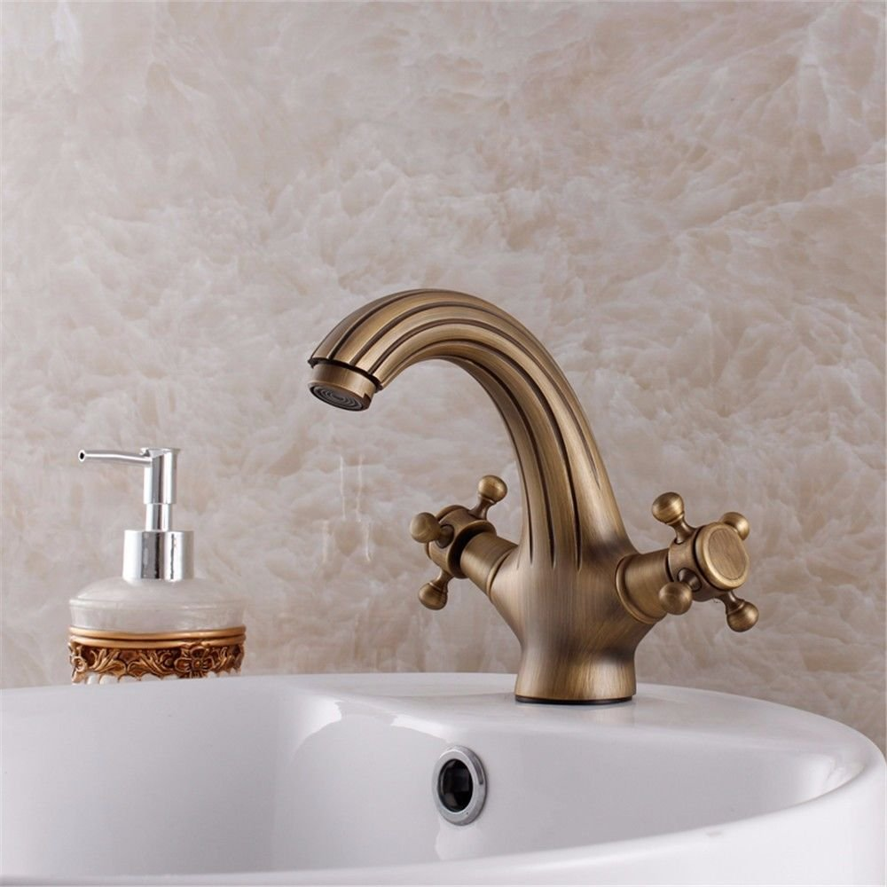 Lalaky Taps Faucet Kitchen Mixer Sink Waterfall Bathroom Mixer Basin Mixer Tap for Kitchen Bathroom and Washroom Copper Hot and Cold Bronze Antique Waterfall