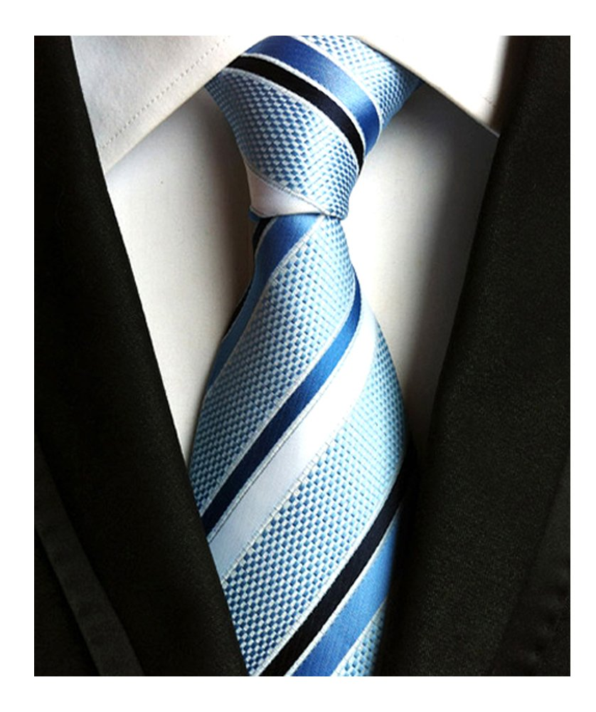 Men's Classic Light Blue Stripe Tie Jacquard Woven Silk Tie Necktie + Gift Box