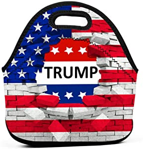 Kdshjdgwes56 Trump for President 2020 Keep America Great Neoprene Lunch Bag Tote Handbag Lunchbox Food Container Gourmet Tote Cooler Warm Pouch for School Work Office