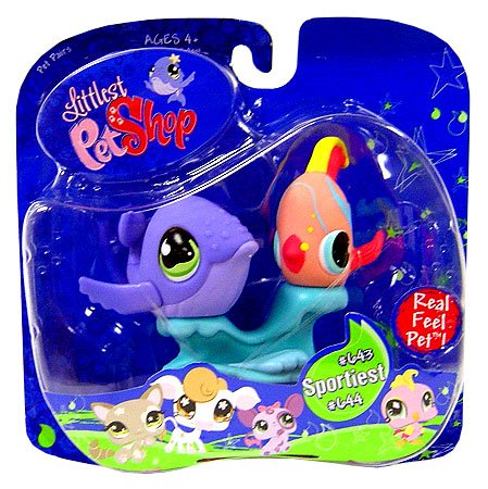 Hasbro Littlest Pet Shop Purple Whale and Angel Fish # 643 and 644
