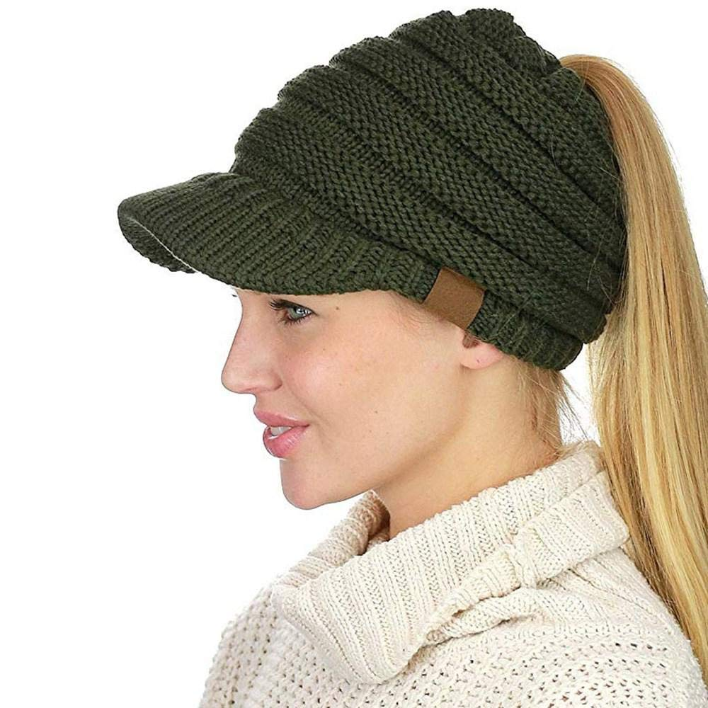 4b760cf58 Ponytail Beanie with Visor, Aolvo Cute Messy Bun Beanie Hat Warm Cable Knit  Ponytail Beanie Cap Covers Head and Ears with Ponytail Hole for Long Hair  ...