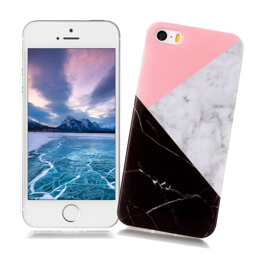 XiaoXiMi Funda iPhone 5/5S/SE con Textura de Mármol Carcasa ...
