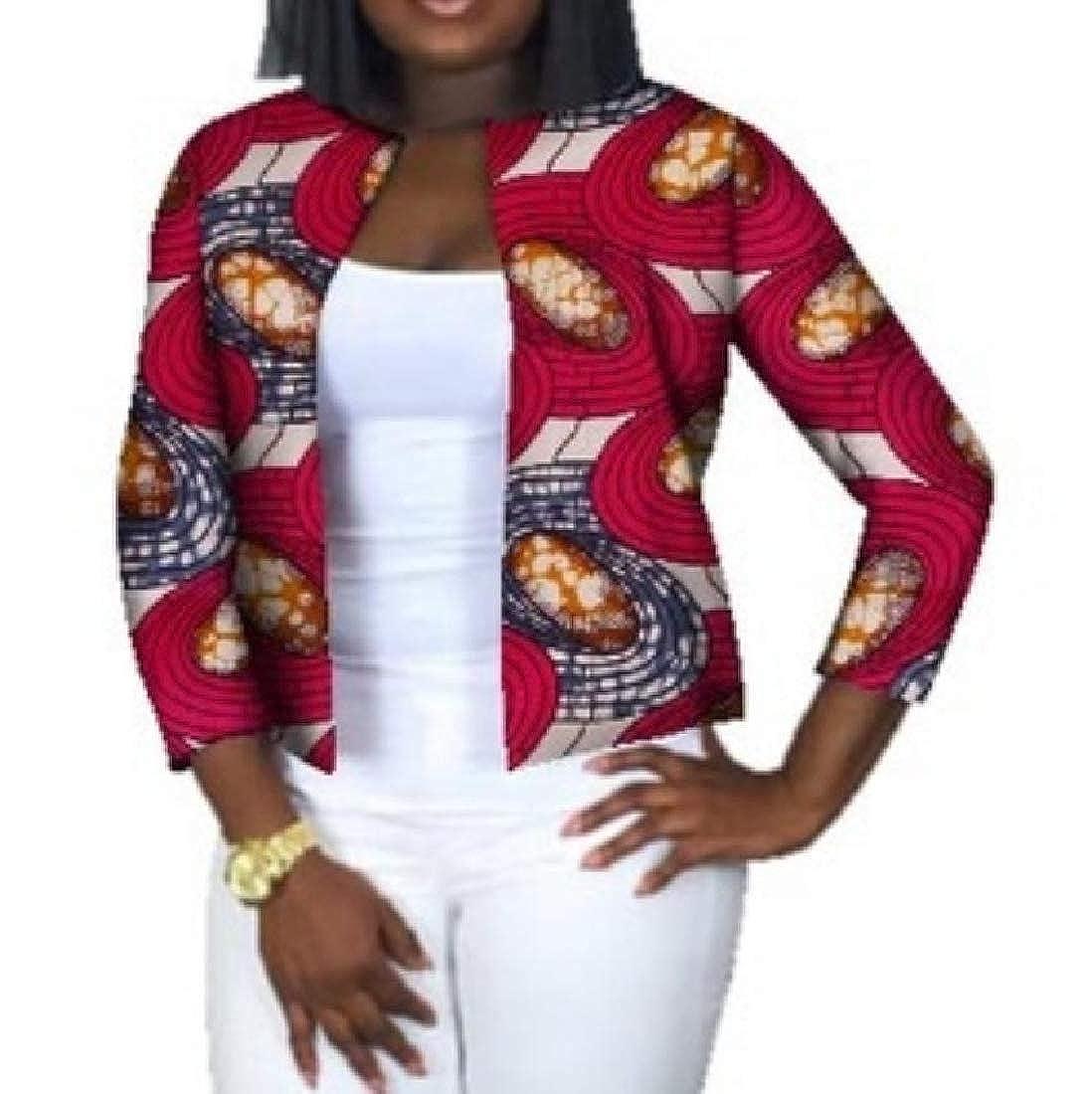 YUNY Cardigan African Dashiki Crop Top Plus Size Slim Outerwear Eight 4XL