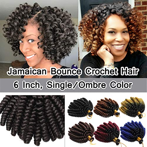 SEGO 6 Inch Jamaican Bounce Crochet Hair Jumpy Wand Curl Short Curly Jamaican Crochet Braids Synthetic Crochet Braiding Hair Extensions Twist Braid Hair #02 Dark Brown 3 Bundle