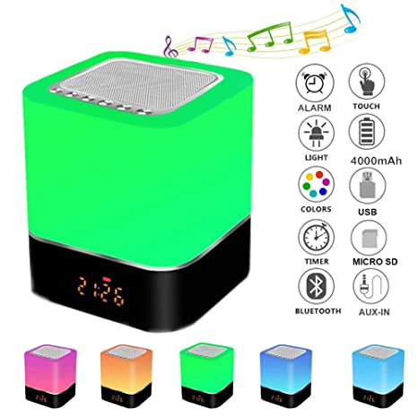 Luz de Nocturna,Careslong LED Portátil Inalámbrica, Altavoz Bluetooth, Reproductor de MP3, Sensor táctil para cambio de color, Lámpara De Cabecera Luz ...