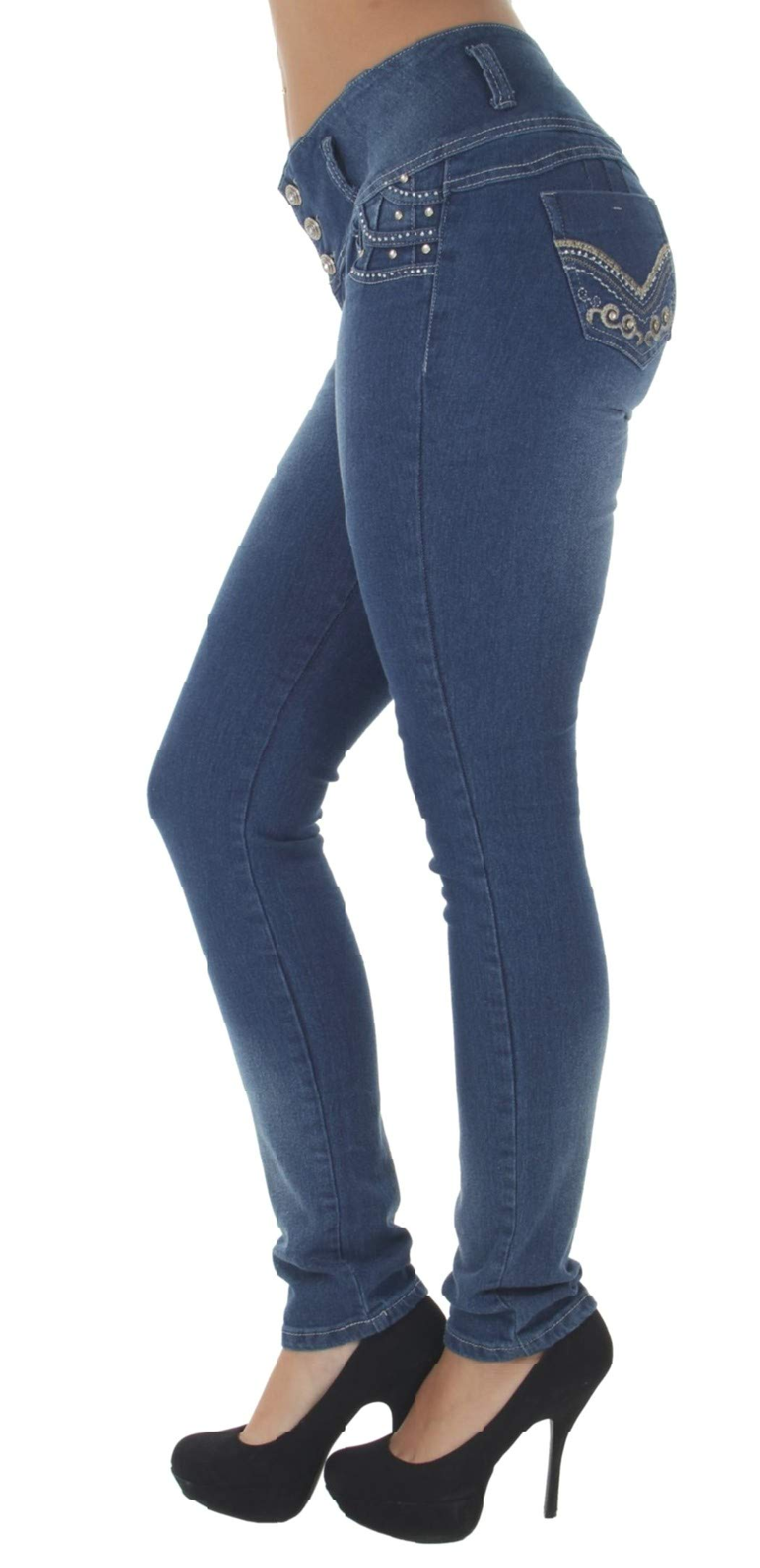 Fashion2Love Style G389P - Plus Size, Colombian Design, High Waist, Butt Lift, Skinny Jeans in M. Blue Size 24