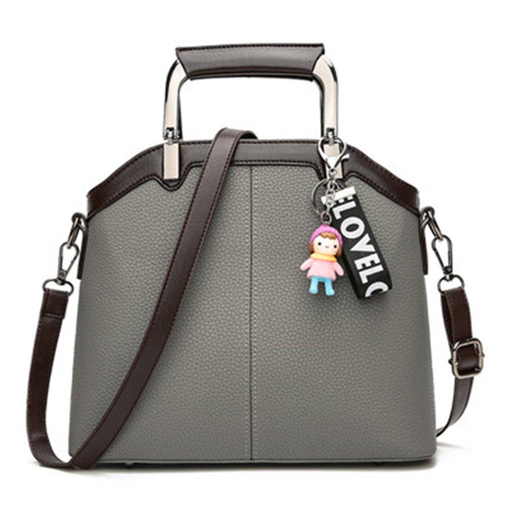 Chic-Dona Fashion Women PU Leather Handbags Ladies Shoulder Bags Large Capacity Tote Bag Women Shell Bags Messenger Bag For Women Gray 27x11x23cm
