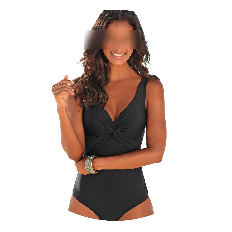onebanana Women One Piece Vintage Slimming Swimwear Black Bathing Suit Wide Strap Deep V Beach Wear