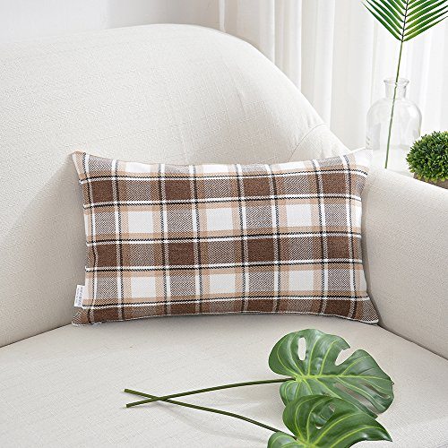 White Checkers Protector Case - NATUS WEAVER Cool Checker Pillow Cases Soft Linen Square Decorative Throw Cushion Cover Pillowcase for Living Room - 12