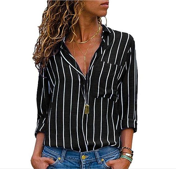 8f3cdab7900 USGreatgorgeous Women's Vertical Stripes Button Down Loose Plus Size ...