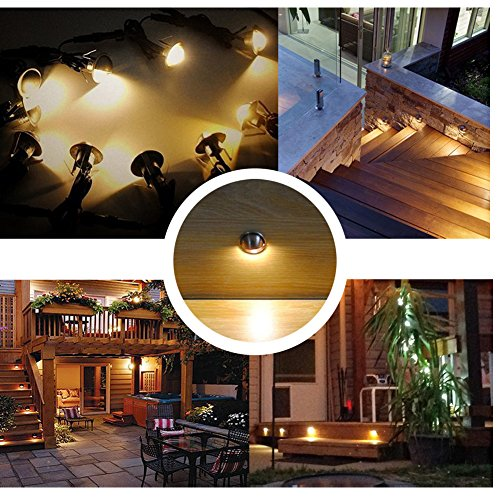 QACA Pack of 10 LED Stair Light Low Voltage Waterproof IP65 Outdoor Φ1.38'' Wood Recessed Warm White LED Deck Lighting Yard Garden Patio Step Landscape Pathway Decor Lamp, Bronze by QACA (Image #1)