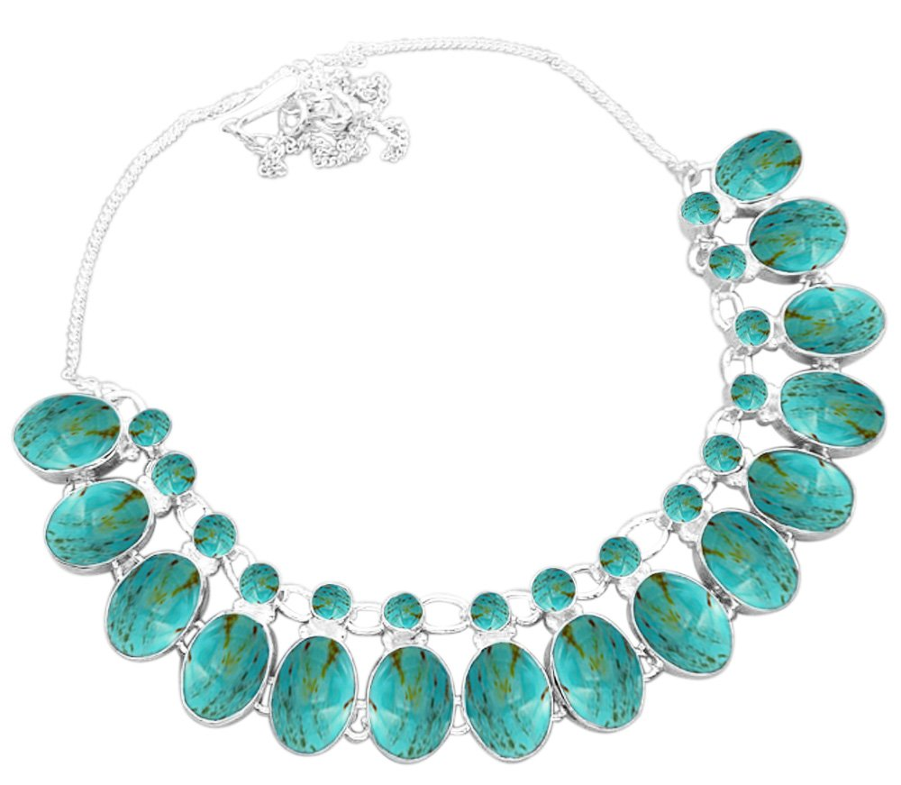 925 Silver Plated 100.00ctw Genuine Turquoise Necklace