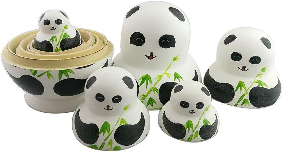 10Pcs Panda Bamboo Printed Nesting Doll Russian Babushka Matryoshka Kids Toy