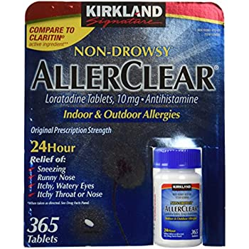 Kirkland Signature Non Drowsy Allerclear Loratadine Tablets, Antihistamine, 10mg, 365-Count Personal Healthcare/Health Care