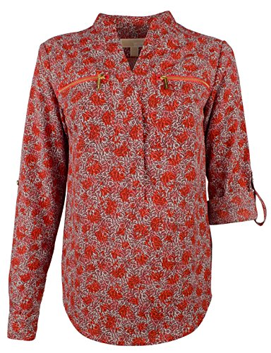 Michael Kors Women's Floral Print Pebble Crepe Zip Pocket (Michael Floral Print)