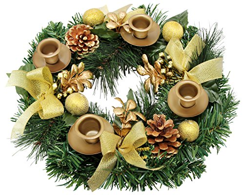 Traditional Christmas Advent Wreath. For Advent Calendar Season Candle Holder -Centerpiece Décor - Advent Candle Holder and X-mas Candles Decorations ()